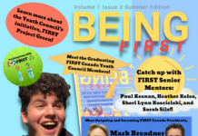 person looking happy on Being FIRST Magazine cover